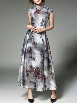 Gray Buttoned Floral Printed Maxi Dress