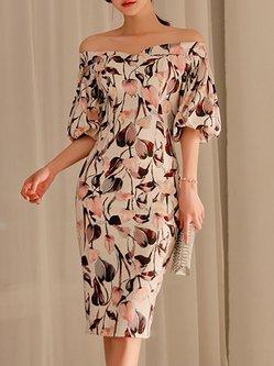 Balloon Sleeve Off Shoulder Printed Midi Dress