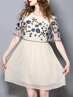 Plus Size Embroidered See-through Look Chiffon Dress