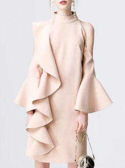 Stand Collar Ruffled Cutout Statement Dress