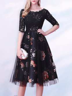 Guipure lace Floral Printed Midi Dress