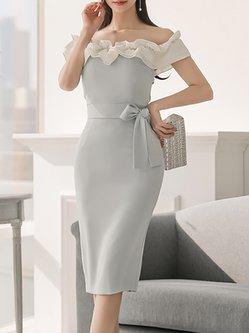 Off Shoulder Ruffled Bodycon Midi Dress