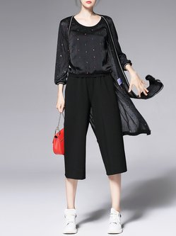 Black Crew Neck Three Pieces Casual Embroidered Jumpsuit