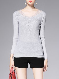 Gray Geometric Paneled Long Sleeved Top