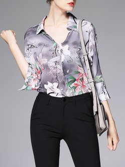 Multicolor Shirt Collar 3/4 Sleeve Floral Printed Blouse