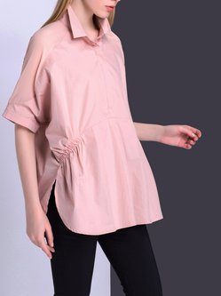 Shirred Half Sleeve Cotton-blend Solid Casual Blouse