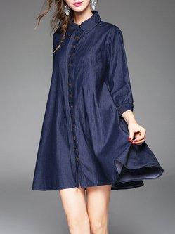 Blue Denim Casual A-line Buttoned Mini Dress