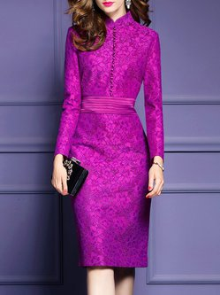 Fuchsia Lace Buttoned Detail Sheath Dress