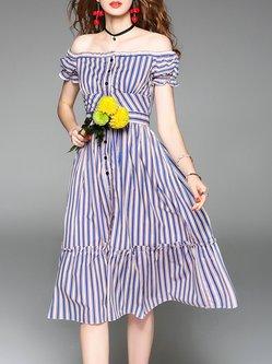 Blue Cotton Frill Sleeve Striped A-line Off Shoulder Midi Dress