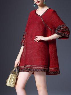 Red Boho Embroidered Mini Dress