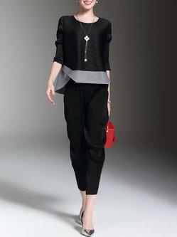 Black Casual Color-block Two Piece Jumpsuit