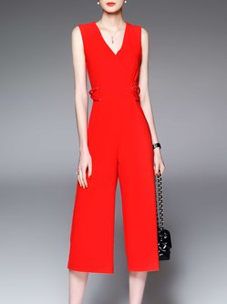 Red Sleeveless Solid Simple V Neck Jumpsuit