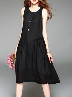 Solid Sleeveless A-line Casual Midi Dress