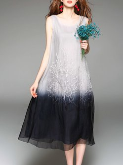 Gray Sleeveless Embroidered Ombre/Tie-Dye A-line Midi Dress