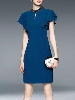 Blue Sheath Beaded Ruffled Sleeve Elegant Midi Dress
