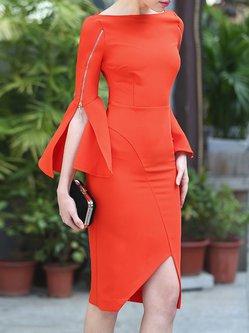 Orange Solid Zipper Sheath Elegant Midi Dress