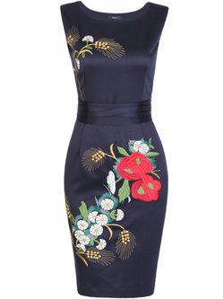 Elegant Sleeveless Embroidered Mini Dress