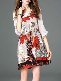 Multicolor Graphic Beaded Casual Silk Mini Dress
