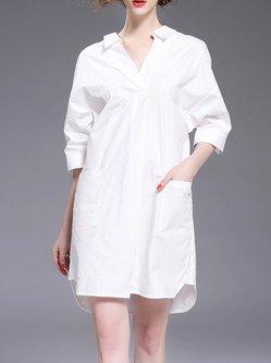 White Backless Cutout Cotton 3/4 Sleeve Shirt Collar Shirt Dress