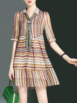 Shirt Collar Stripes Casual Half Sleeve Midi Dress