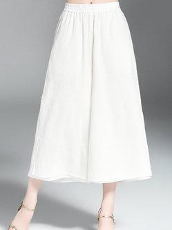 White Casual Cotton Solid Wide Leg Pants