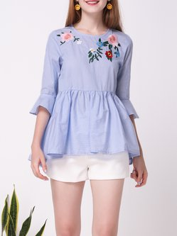 Blue Bell Sleeve Stripes Floral-embroidered A-line Blouse