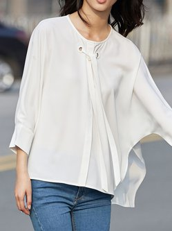 White Solid Bow Crew Neck Long Sleeve Blouse