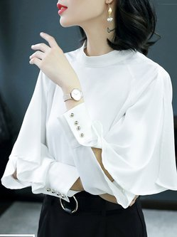 White Solid Stand Collar Long Sleeve Buttoned Casual Blouse