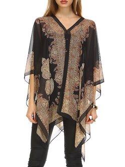 Black Abstract Batwing Printed Kimono