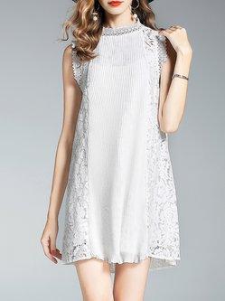 Gray H-line  Paneled Guipure Lace Girly Mini Dress