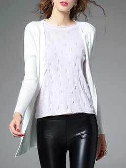 Knitted Long Sleeve Plain H-line Casual Cardigan