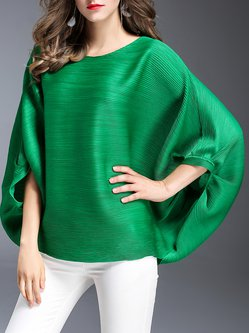 Green Casual Crew Neck Solid Long Sleeved Top