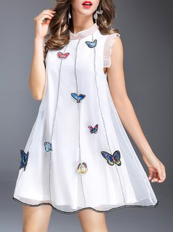 White Girly A-line Stand Collar Mini Dress