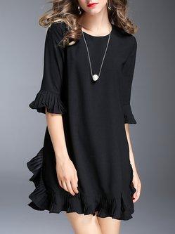 Pleated Casual Solid Flounce Frill Sleeve Mini Dress