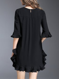 Pleated Casual Solid Flounce Frill Sleeve Mini Dress