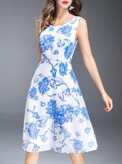 Blue Sleeveless Printed Chiffon Midi Dress