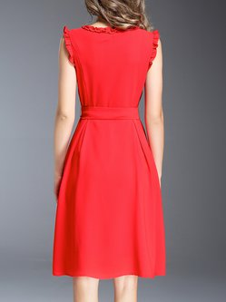 Red Bow Sleeveless A-line Crew Neck Midi Dress