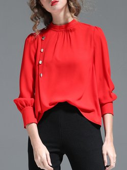 Red Stand Collar Long Sleeve Blouse