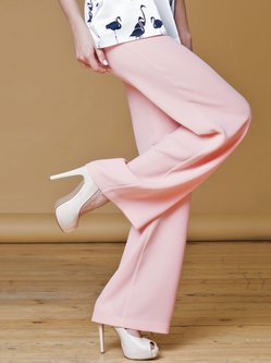 Pink H-line Simple Polyester Wide Leg Pant