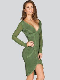 Olive Green V Neck Sexy Polyester Bandage Midi Dress