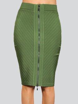 Polyester Zipper Bandage Sexy Midi Skirt