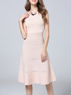 Pink A-line Casual Crew Neck Midi Dress