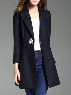 Navy Blue Long Sleeve Buttoned A-line Blazer