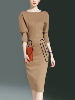 Bateau/boat Neck Slit Sheath Casual Batwing Midi Dress