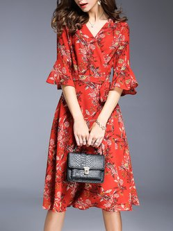 Red A-line Wrap Frill Sleeve Floral Midi Dress