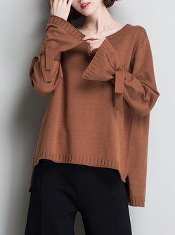 Casual Bell Sleeve Crew Neck High Low Sweater