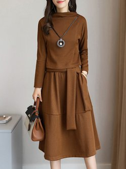 Khaki Solid Knitted Long Sleeve Sweater Dress
