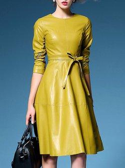 Elegant Bow Long Sleeve Midi Dress