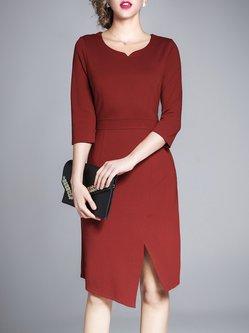 Red Elegant Sheath Solid 3/4 Sleeve Work Dress