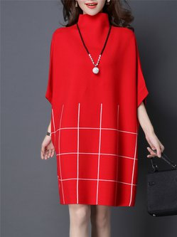 Casual Knitted Batwing Shift Turtleneck Sweater Dress